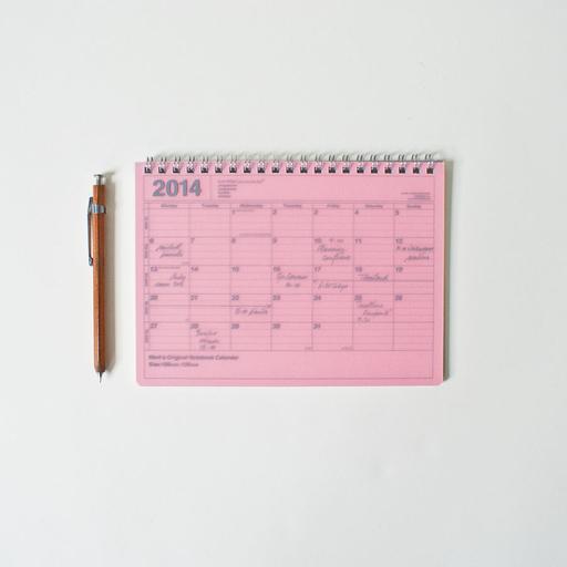 Mark's 2014 Pocket Notebook Calendar B6 Pink Peony