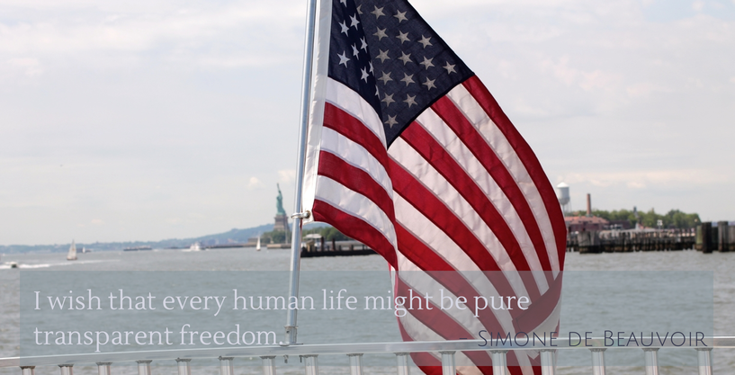 freedom - fourth of july - flag - statue of liberty