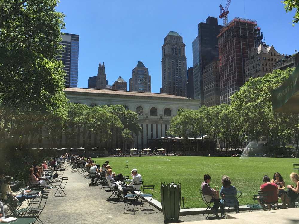Learning about how Bryant Park became what it is today.