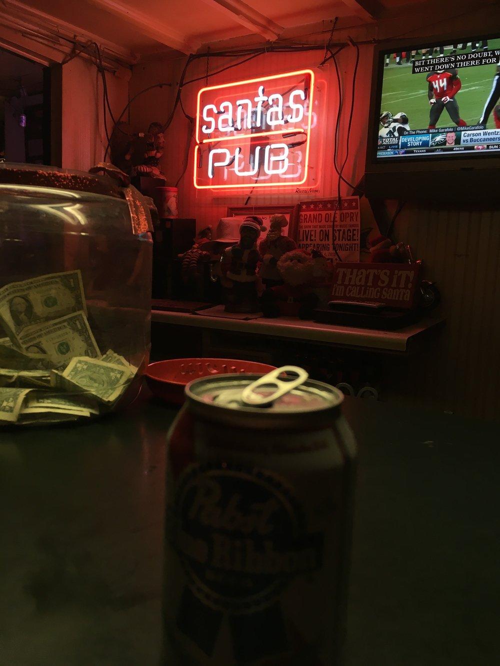 Santa's pub has $2 PBR, as all dive bars should