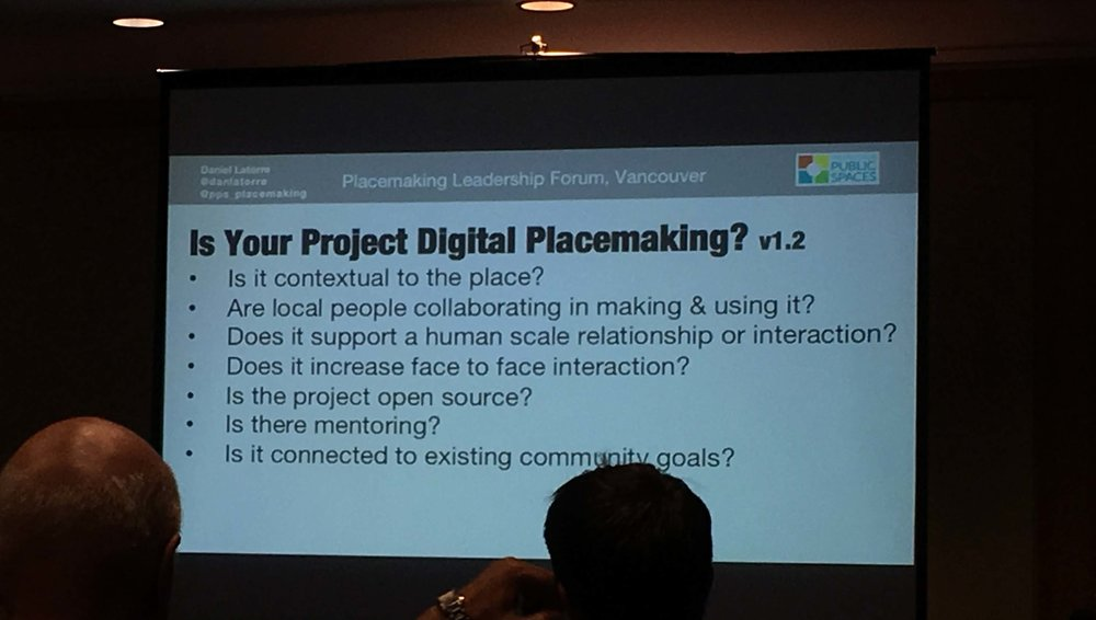 Slide from Daniel Latorre's session on Digital Placemaking.