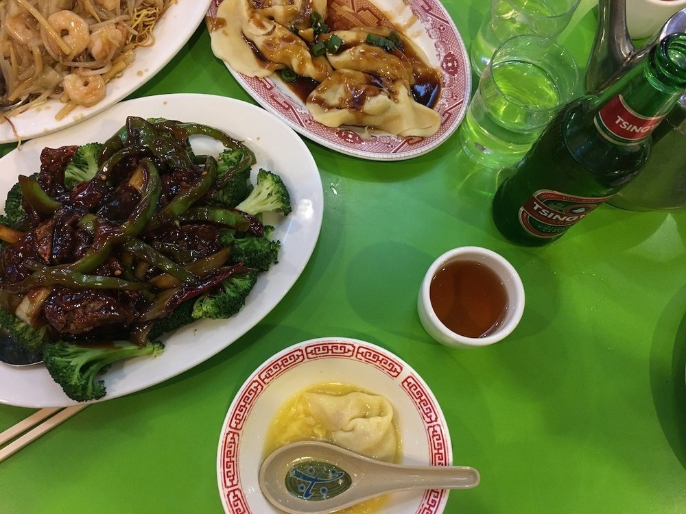 Dinner in Chinatown to celebrate Chinese New Year. We've been eating out a lot because it's NYC and our kitchen is full of boxes.