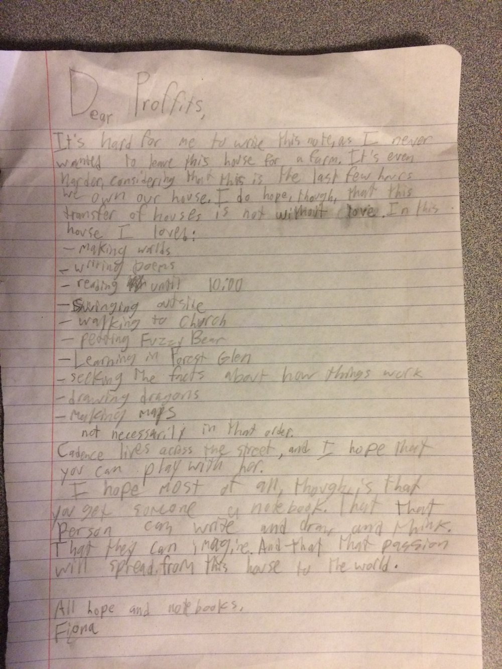 Fiona's lovely letter--mixed feelings, expressed with great kindness.