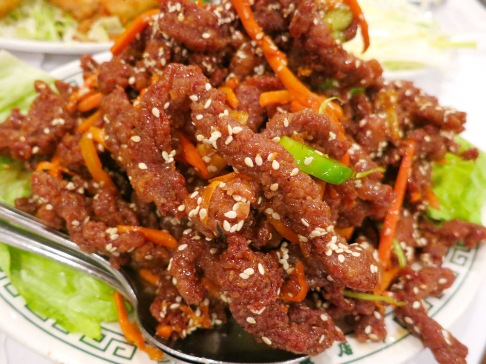 Szechuan Beef Proper   Crispy shredded beef sauteed with celery, carrots, and sesame seeds