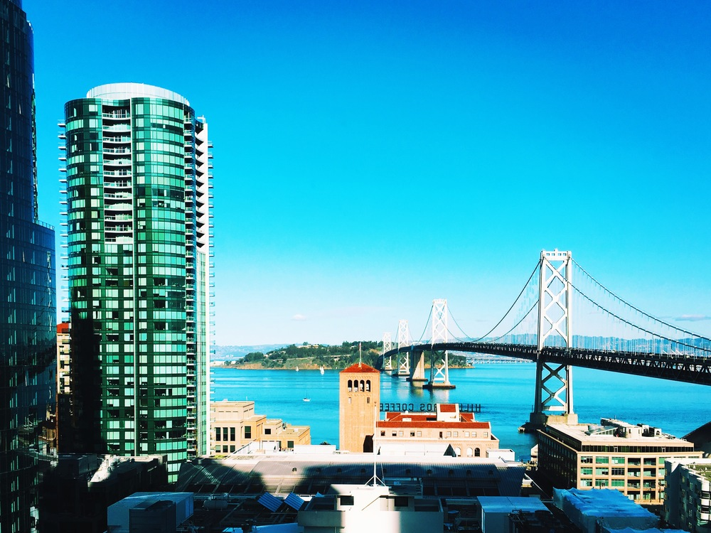 BAY BRIDGE VIEW FROM THE APARTMENT ON A SUNNY WEEKEND