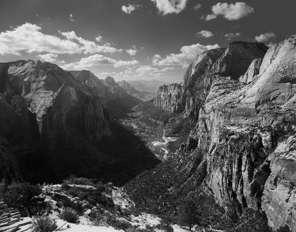 Looking down canyon.  4x5 Ilford Delta 100, f/22, 1/2s, #25 red filter