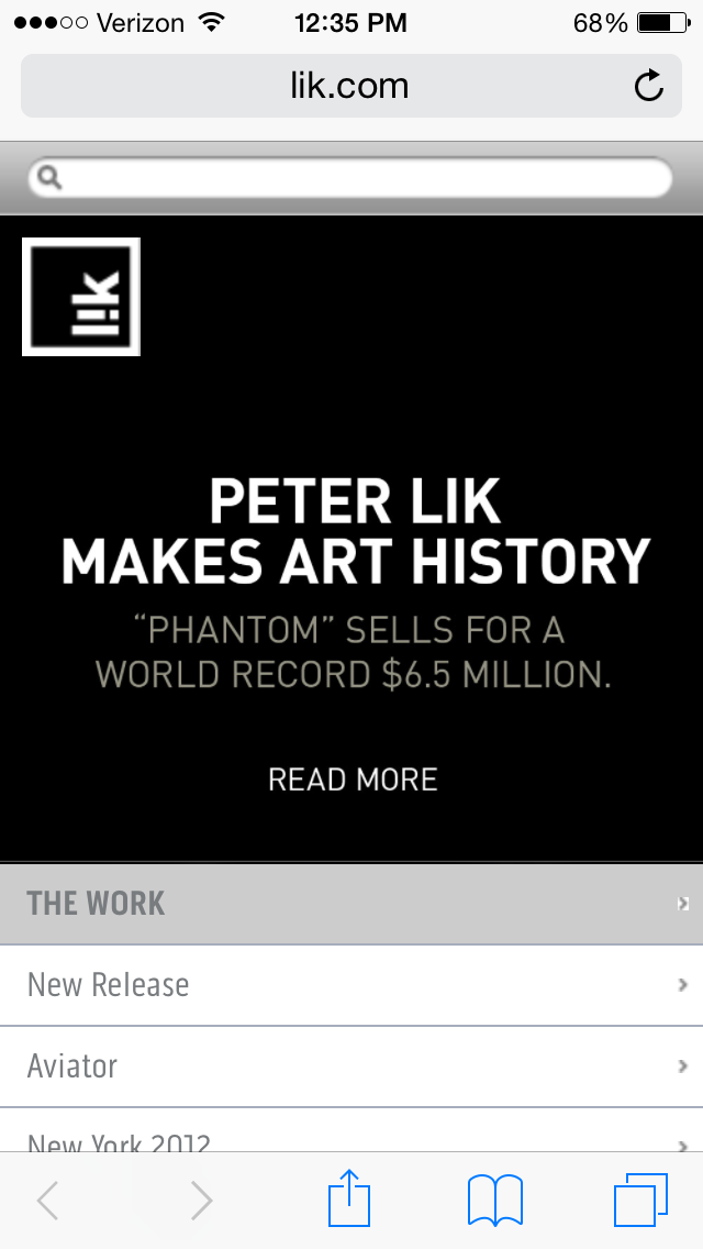 The landing page for Peter Lik's website.  Think he's trying to tell us something?!