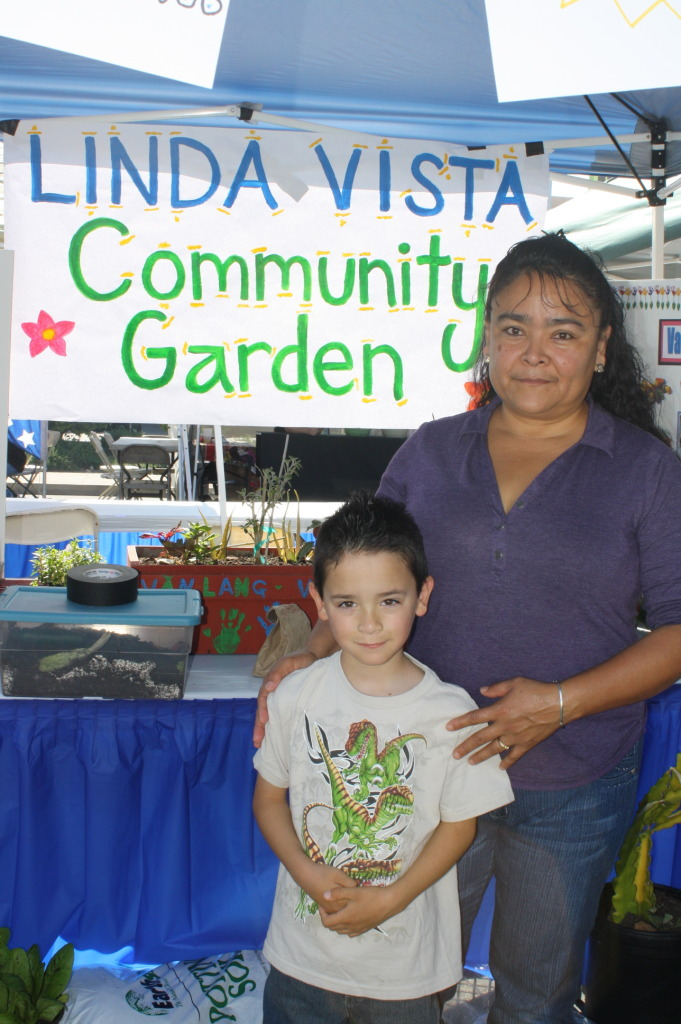 Tomasa and son Daniel at Linda Vista Community Garden hosted at Bayside Community Center.