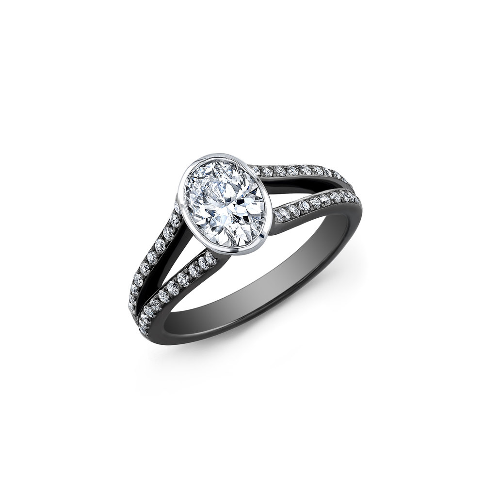 This Stunning Modern Engagement Ring Features A 14k Black Gold Shank With A  1 Carat Fancy Cut Oval Diamond Center Stone H Color, Si1 Clarity, Very Good  Cut