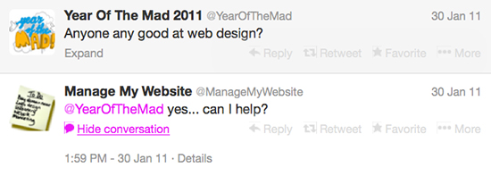 Matt Malone and Manage My Website's tweets