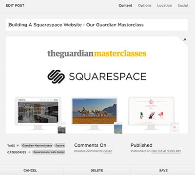 Tags and Categories Squarespace