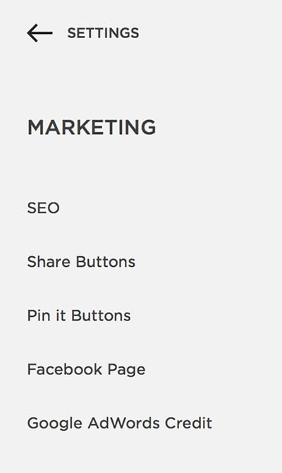Marketing Settings Squarespace