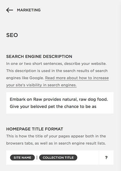 SEO Settings Squarespace