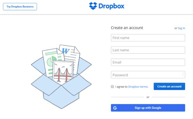 Dropbox Home Page