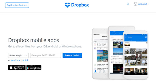 Dropbox for mobiles
