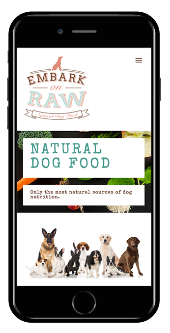 pet food squarespace website marquee template mobile view