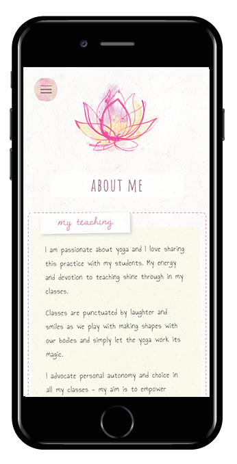 yoga teacher squarespace website pacific template mobile view