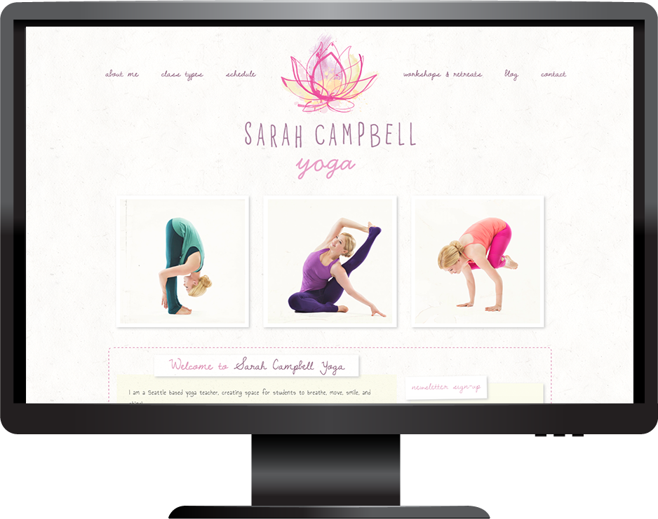 yoga teacher squarespace website pacific template desktop view