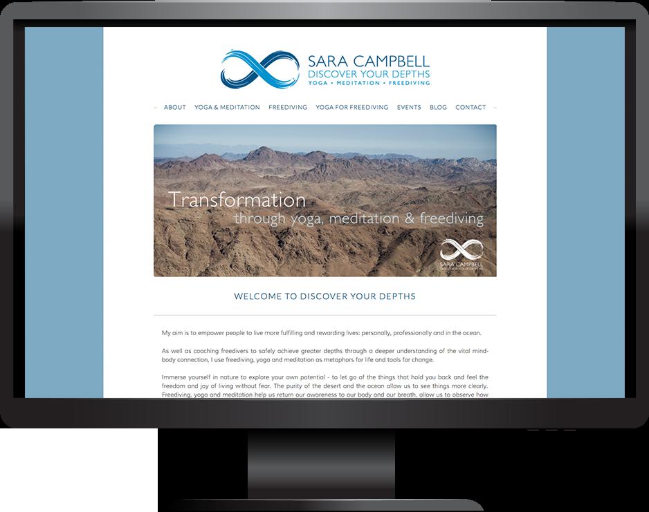 yoga freediving squarespace website hudson template desktop view
