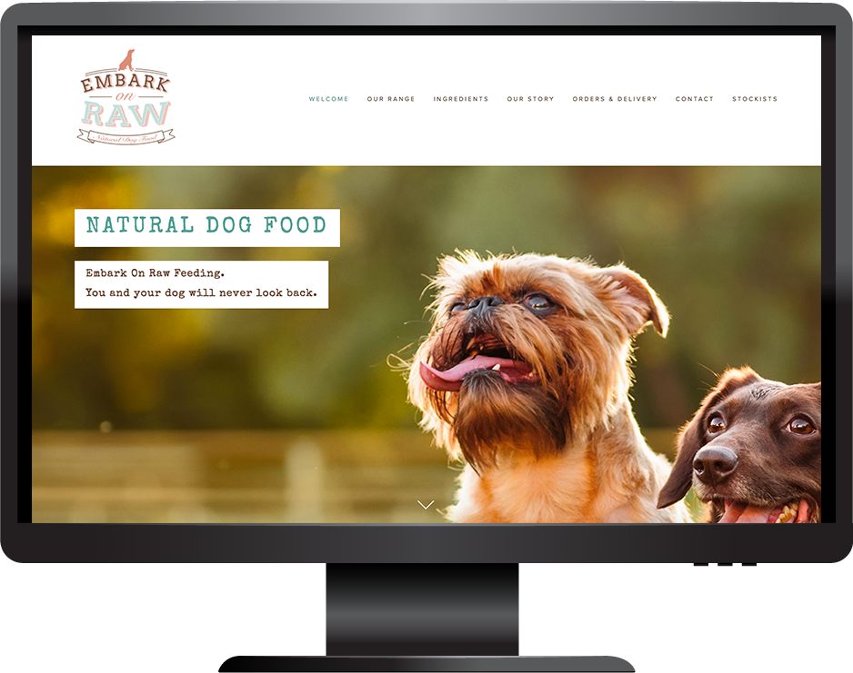 pet food squarespace website marquee template desktop view
