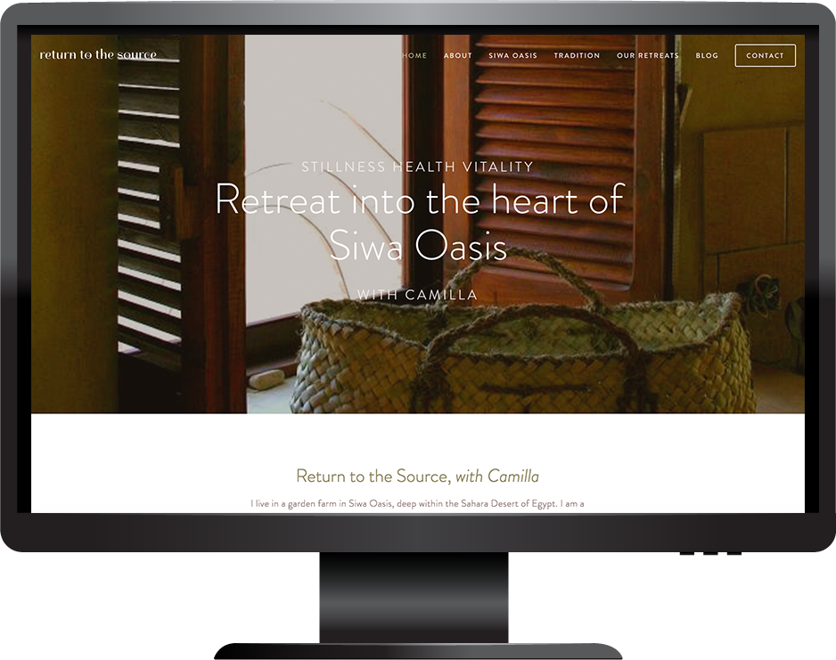 retreat and wellbeing squarespace website hayden template desktop view