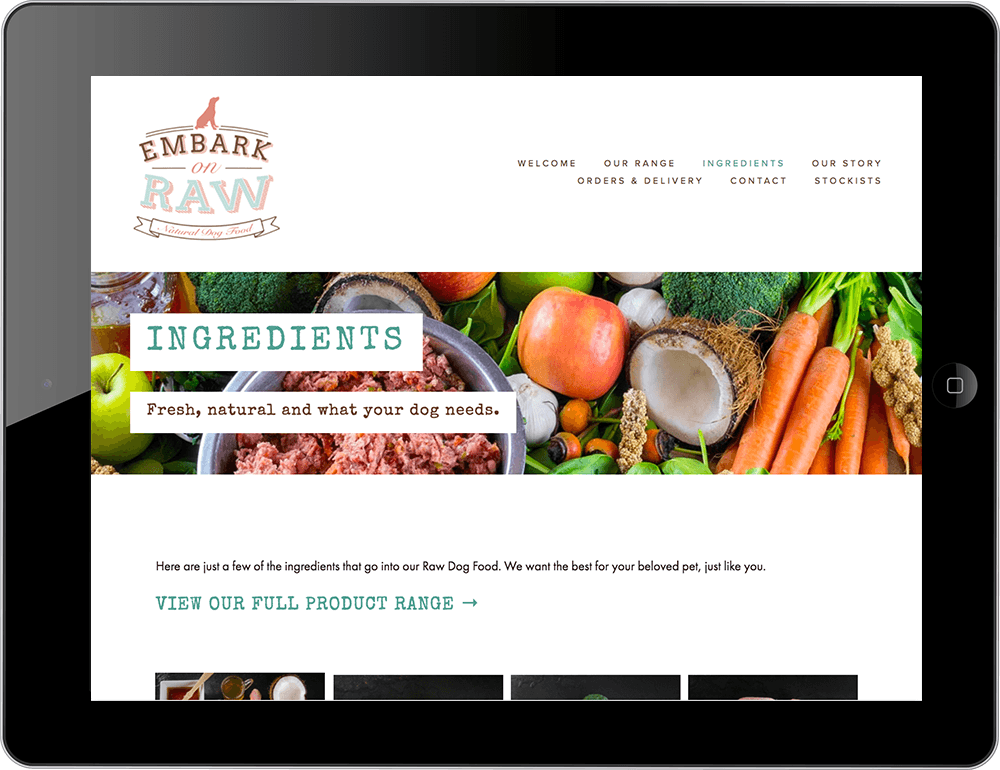 pet food squarespace website marquee template tablet view