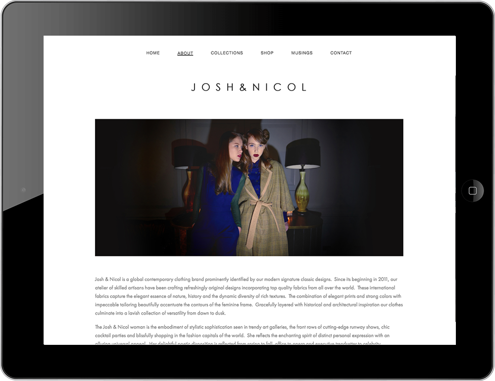 Josh and Nicol fashion label squarespace website galapagos template tablet view