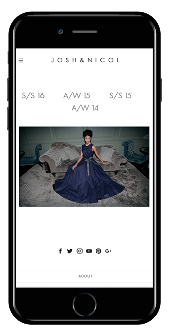 fashion label squarespace website galapagos template mobile view