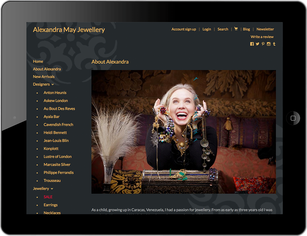 Jewellery shopify website tablet view