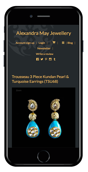 Jewellery shopify website mobile view