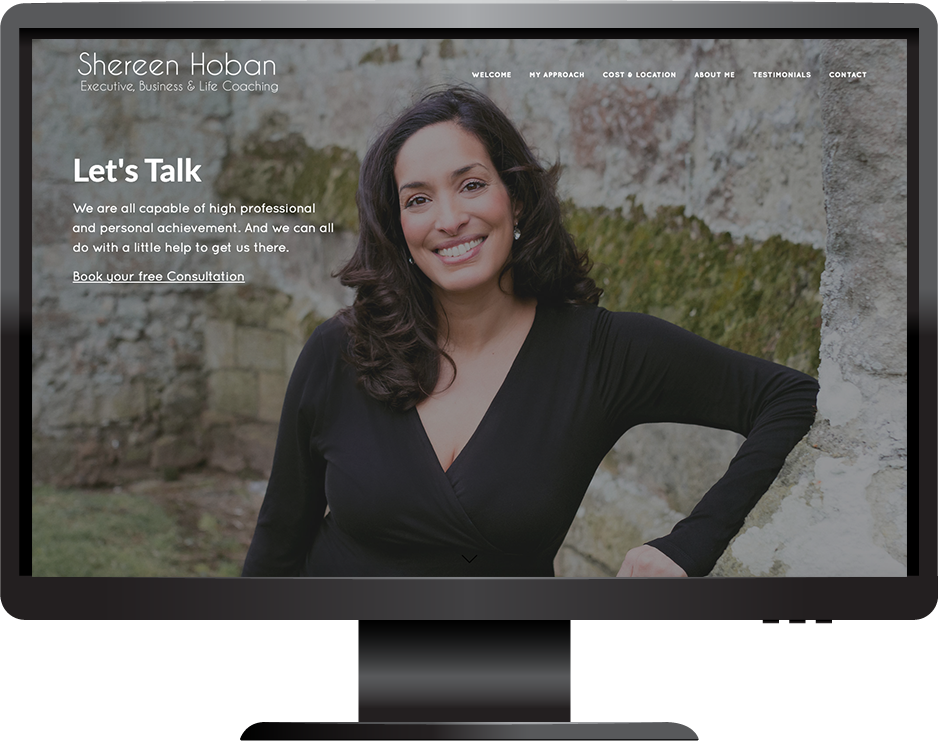 life coach squarespace website marquee template desktop view