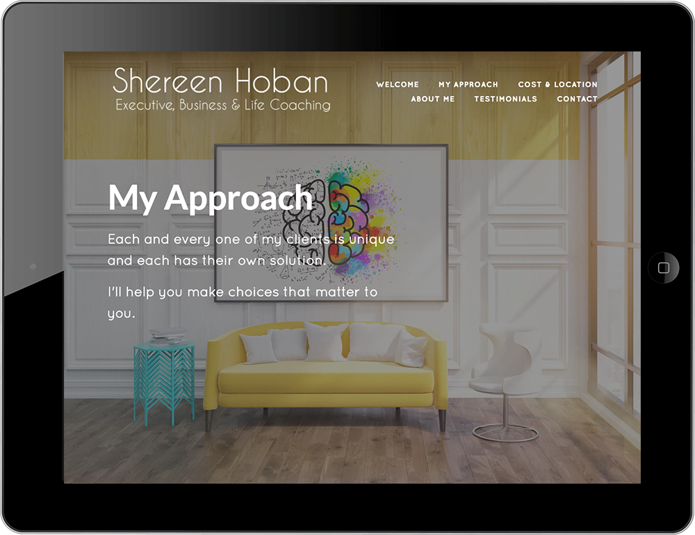 life coach squarespace website marquee template tablet view