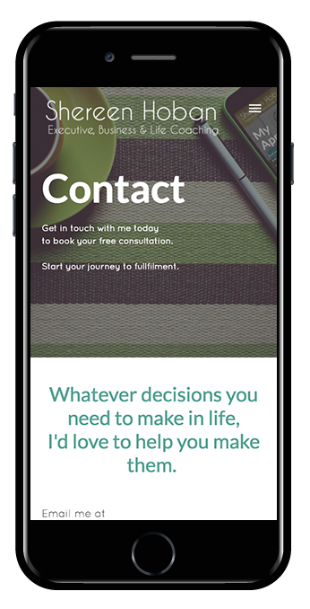 life coach squarespace website marquee template mobile view