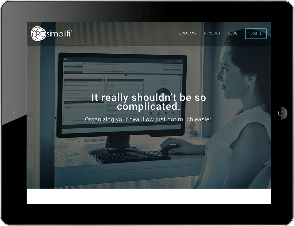 Commercial real estate squarespace website hayden template tablet view