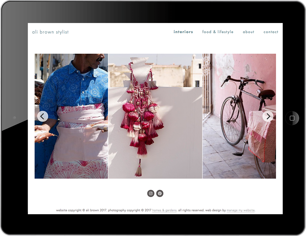 Stylist Squarespace website tablet view
