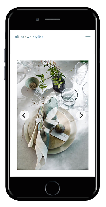 Stylist Squarespace website phone view