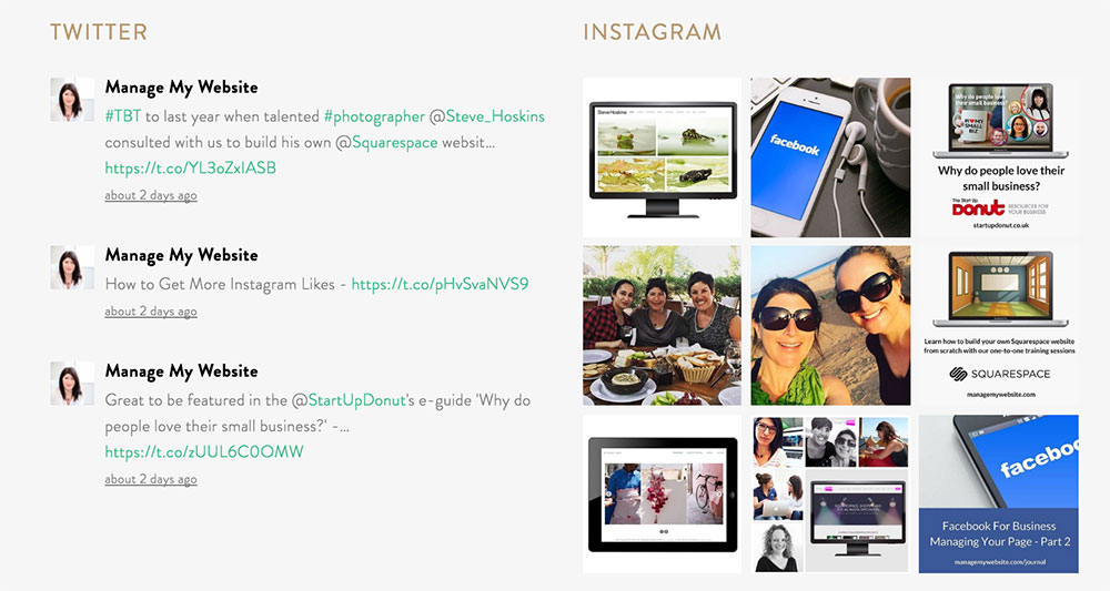 Instagram and Twitter feed Squarespace