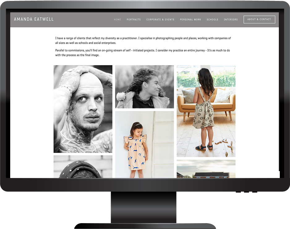 Squarespace photography website desktop