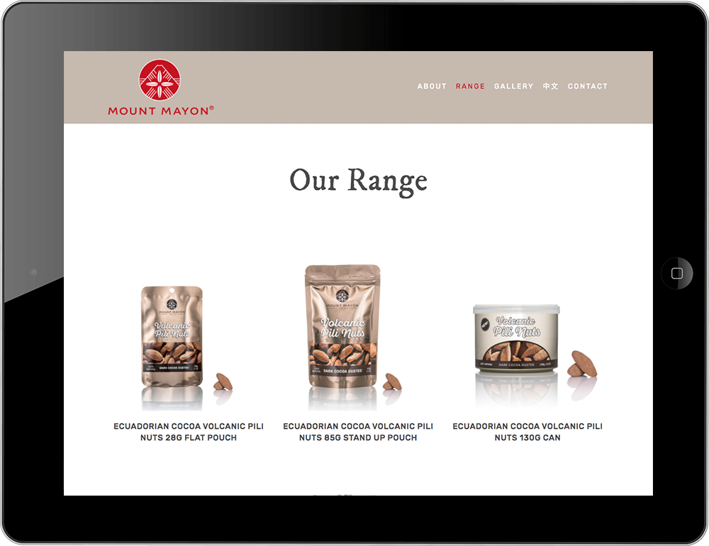 Mount Mayon Pili Nuts Squarespace website tablet