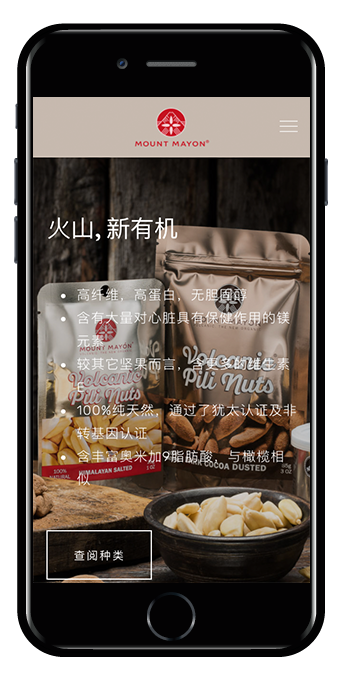 Mount Mayon Pili Nuts Squarespace website mobile view