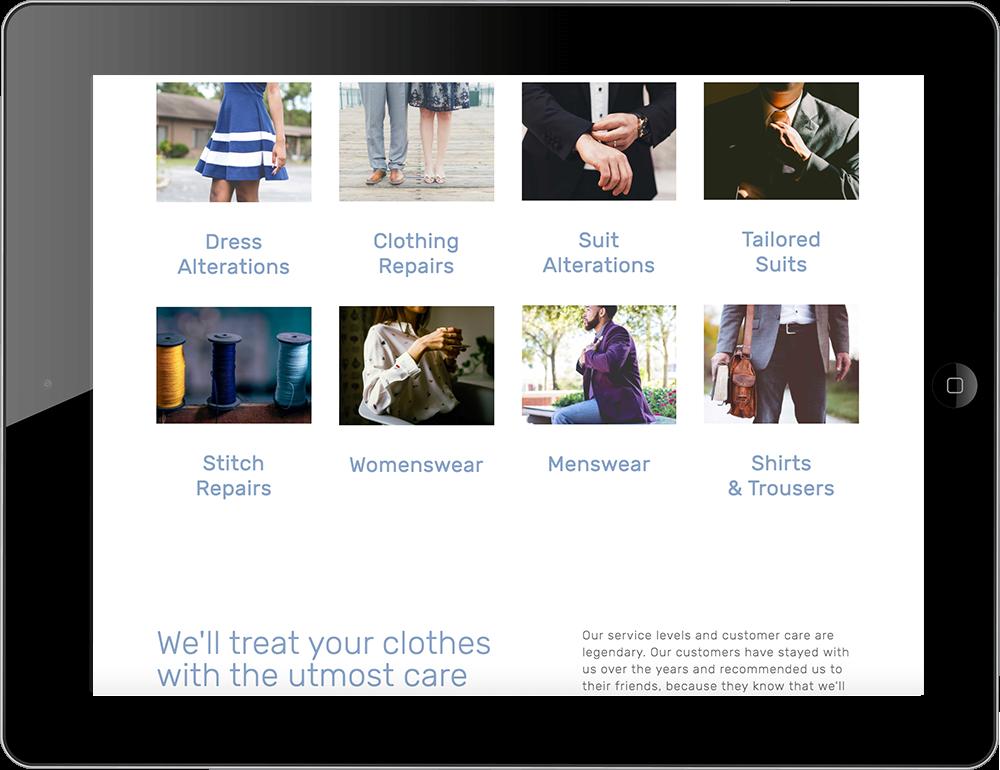 iPad view Squarespace Tailor website