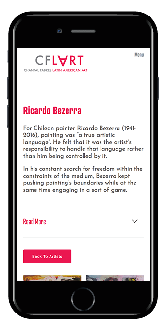 artist profile iPhone view
