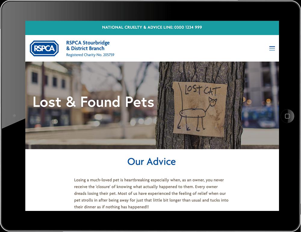 RSPCA iPad view animal charity Squarespace
