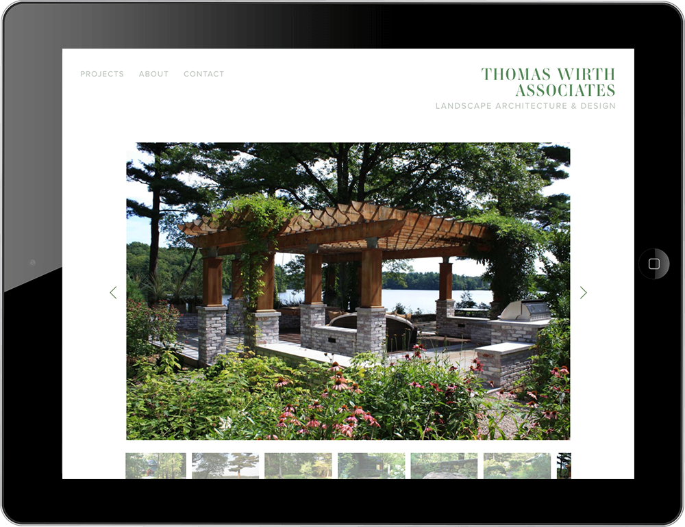 iPad view Squarespace garden landscape website
