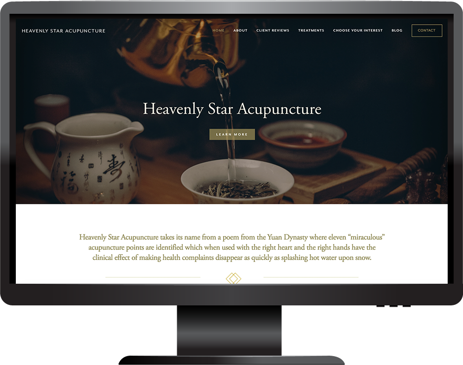 Acupuncture and wellness website Squarespace