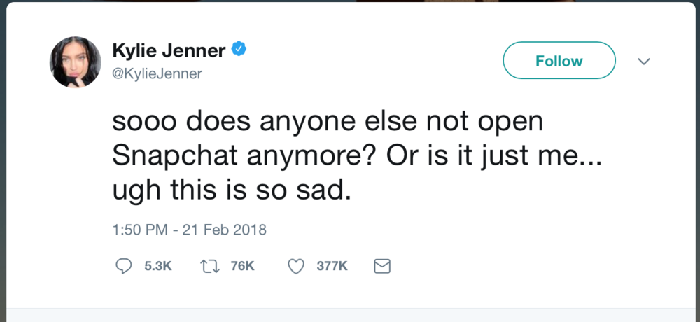 Kylie Jenner Tweet About Snapchat February 2018