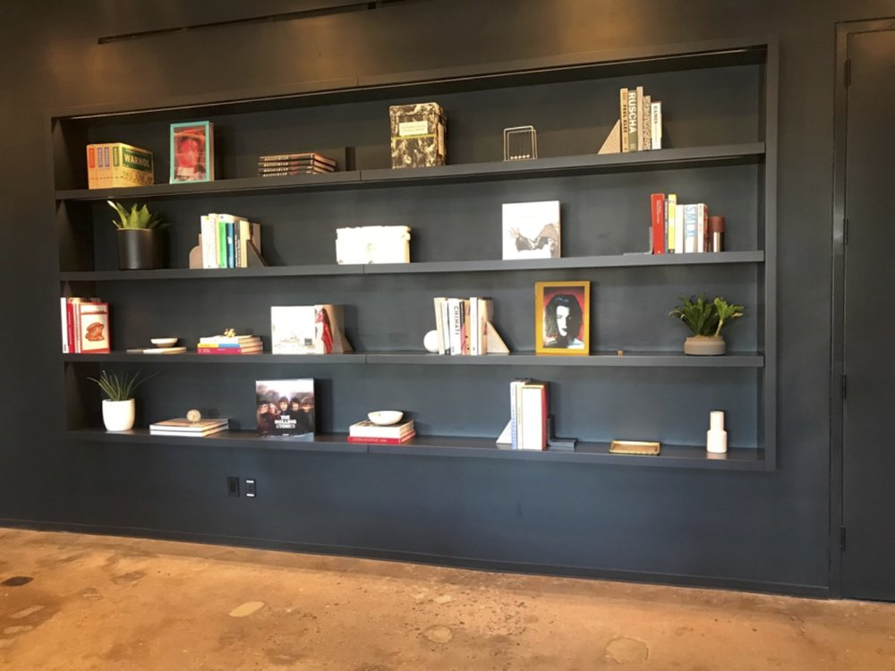 Book shelves in Squarespace offices