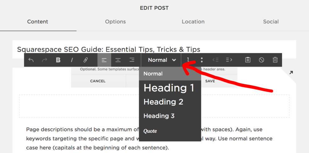 H1 H2 & H3 headings for Squarespace SEO