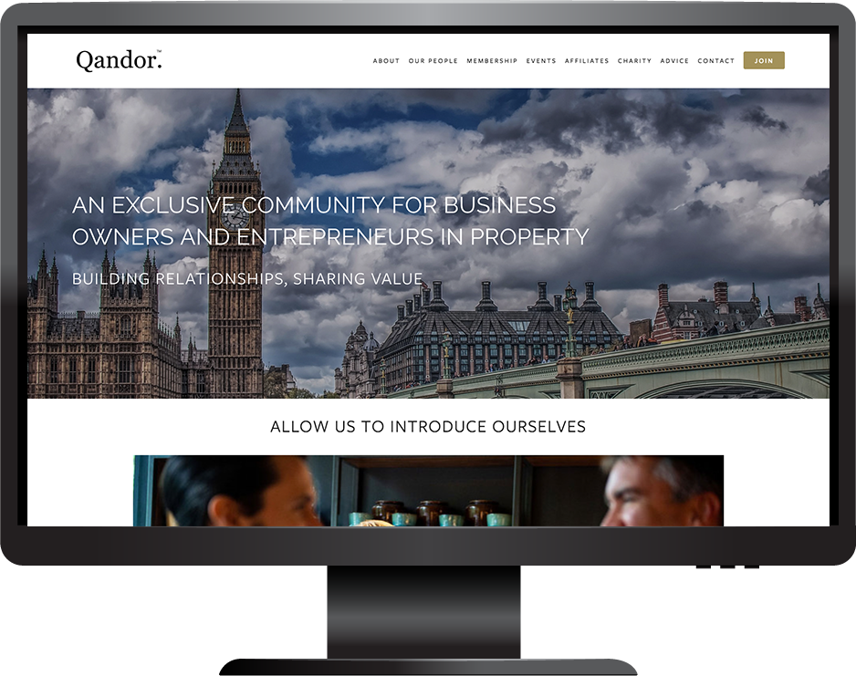 Qandor Property Club website built with Squarespace