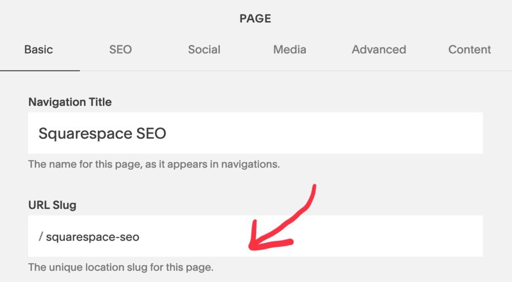 Search engine friendly URLs Squarespace SEO